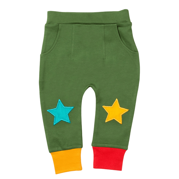 Little Green Radicals Joggers Woodland Green Star Joggers organic childrens clothes