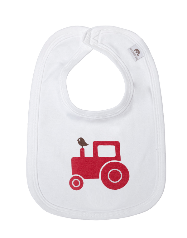 Molly & Monty Bibs All Red Tractor Bib organic childrens clothes