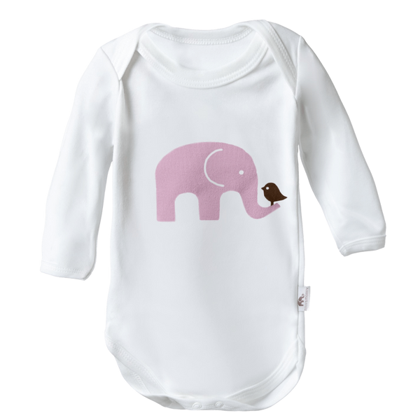 Molly & Monty Bodysuits Pink Elephant Long-Sleeve Bodysuit organic childrens clothes