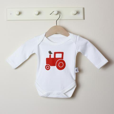 Molly & Monty Bodysuits Red Tractor Long-Sleeve Bodysuit organic childrens clothes