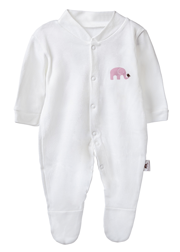 Molly & Monty Sleepsuits Pink Elephant Sleepsuit organic childrens clothes