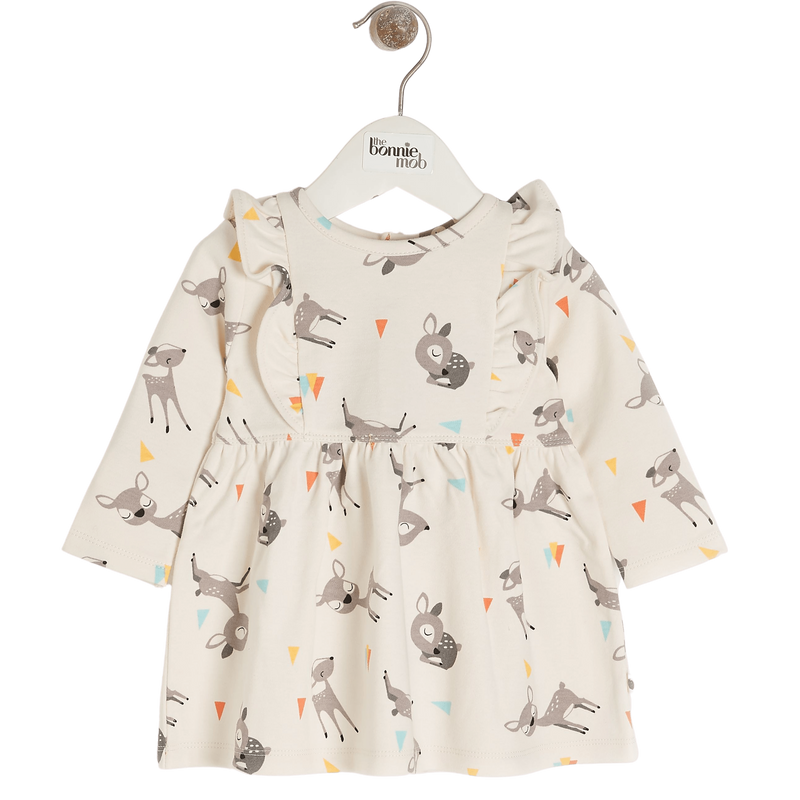 The Bonnie Mob Dresses Cherry - Dress With Frill Shoulder - Deer organic childrens clothes