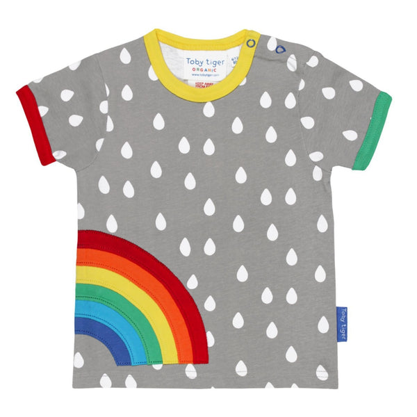 Toby Tiger T-Shirts Organic Raindrop with Rainbow Applique T Shirt organic childrens clothes