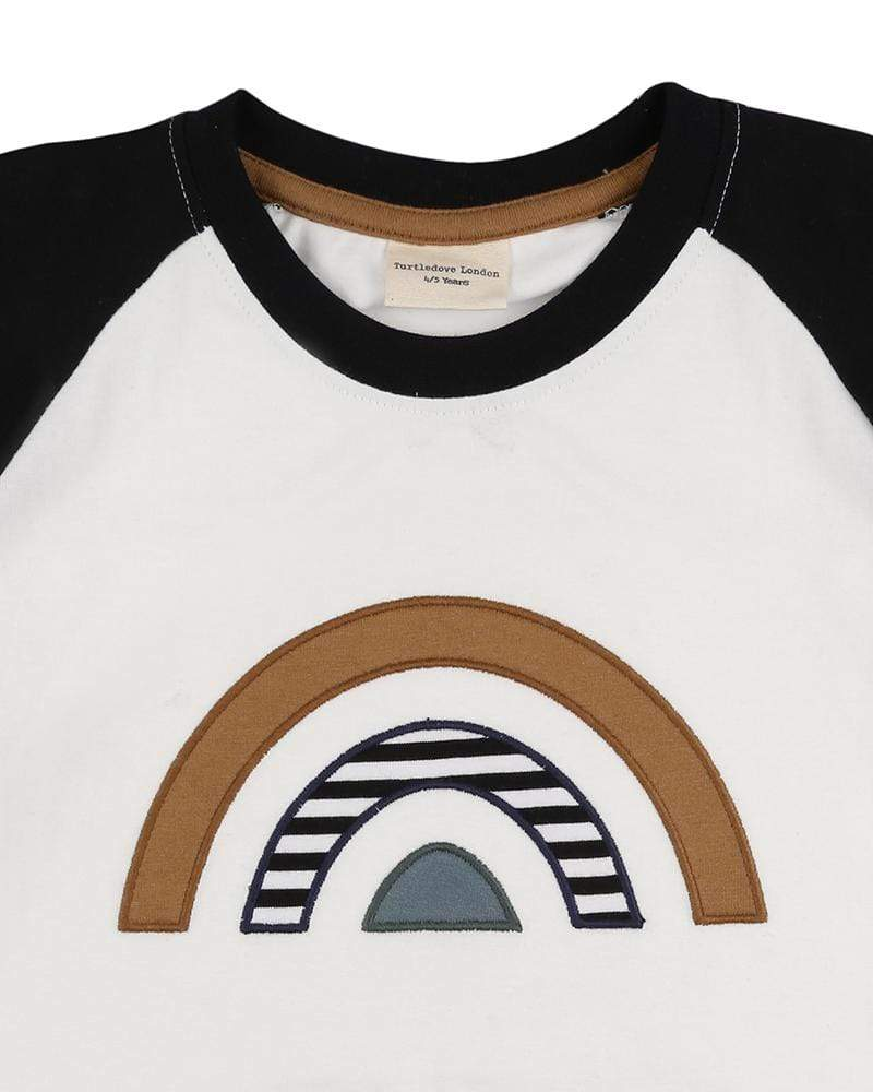 Turtledove London T-Shirts Raglan Rainbow Applique Top organic childrens clothes
