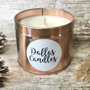 rose gold candle handmade by Dallas Candles, unfragranced candles