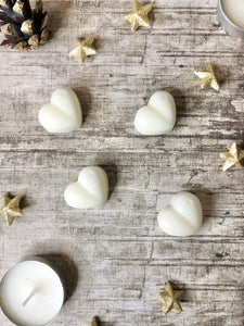 soy wax hearts, super strong scented, free postage, handmade by Dallas Candles
