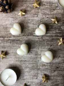 four white natural soy wax hearts handmade by Dallas Candles