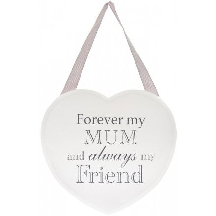 Grey and White Heart Plaque - Forever My Mum