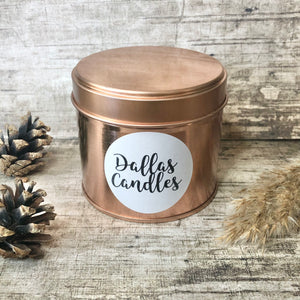 Dallas Candles, soy wax rose gold candle, unscented