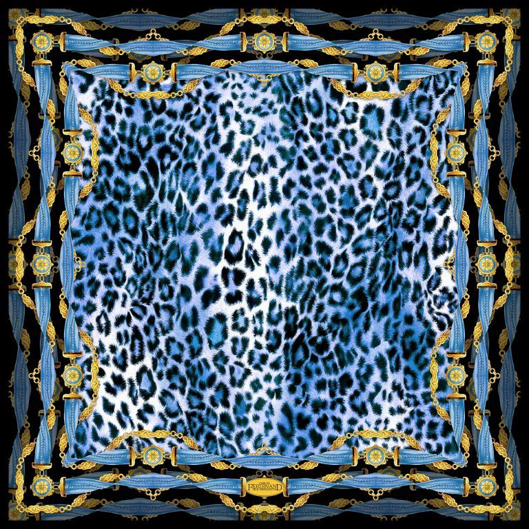 Carlos Ferdinand 90cm Blue Animal Print, Belts & Chains Scarf