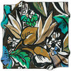 Aker 90cm Silk Scarf with handpainted leaves, browns, cream, blues and greens