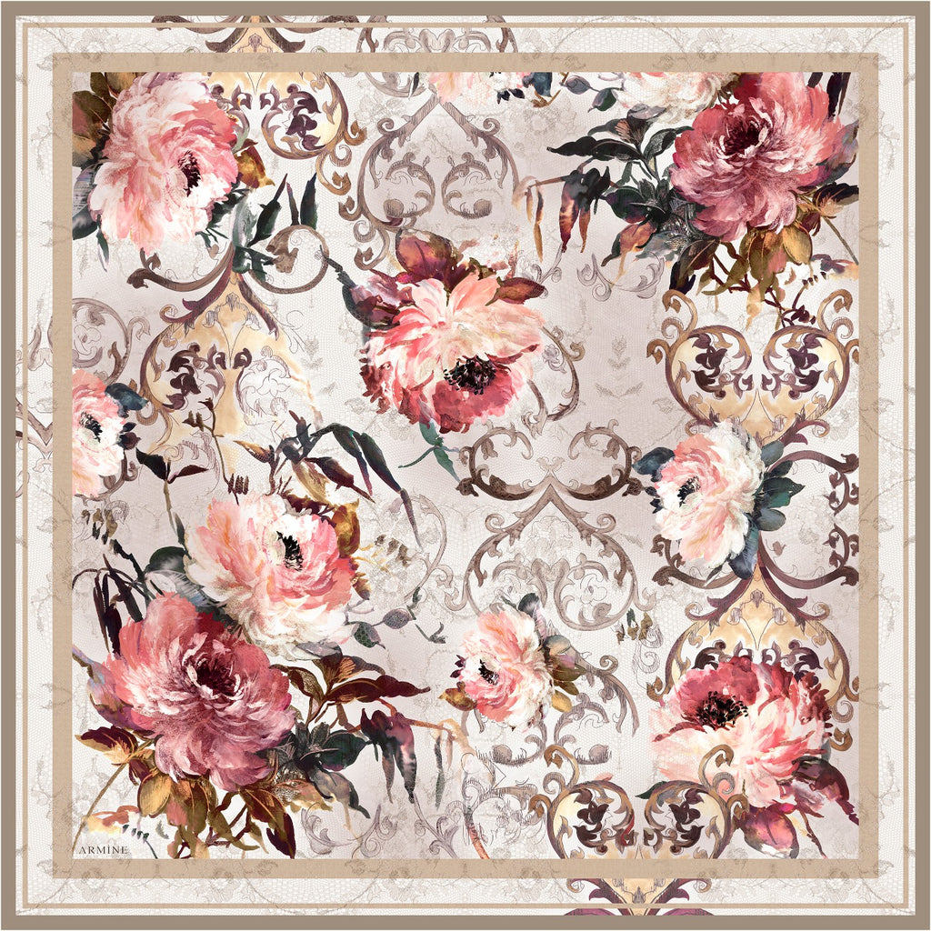 Armine 90cm Old World Floral Scarf with cream/apricot lace background