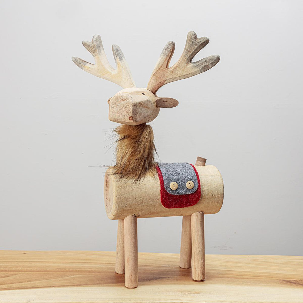 Wooden Deer Red/Grey Saddle