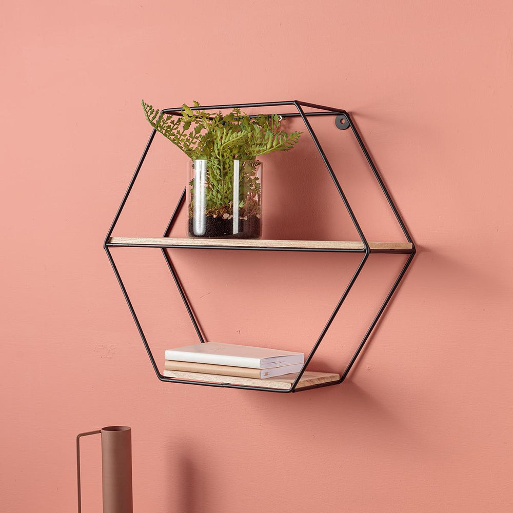 Black Wire Hexagon Shelf