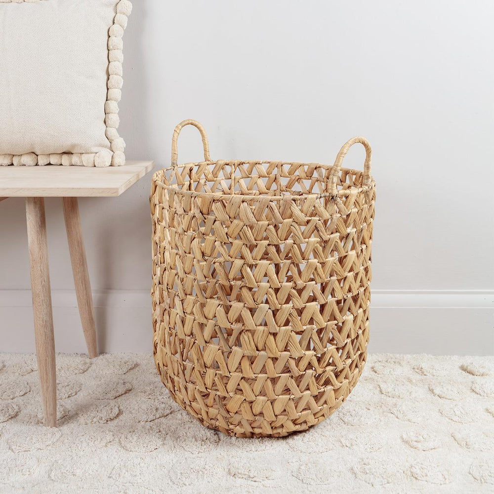 Water Hyacinth Basket with Handles Large