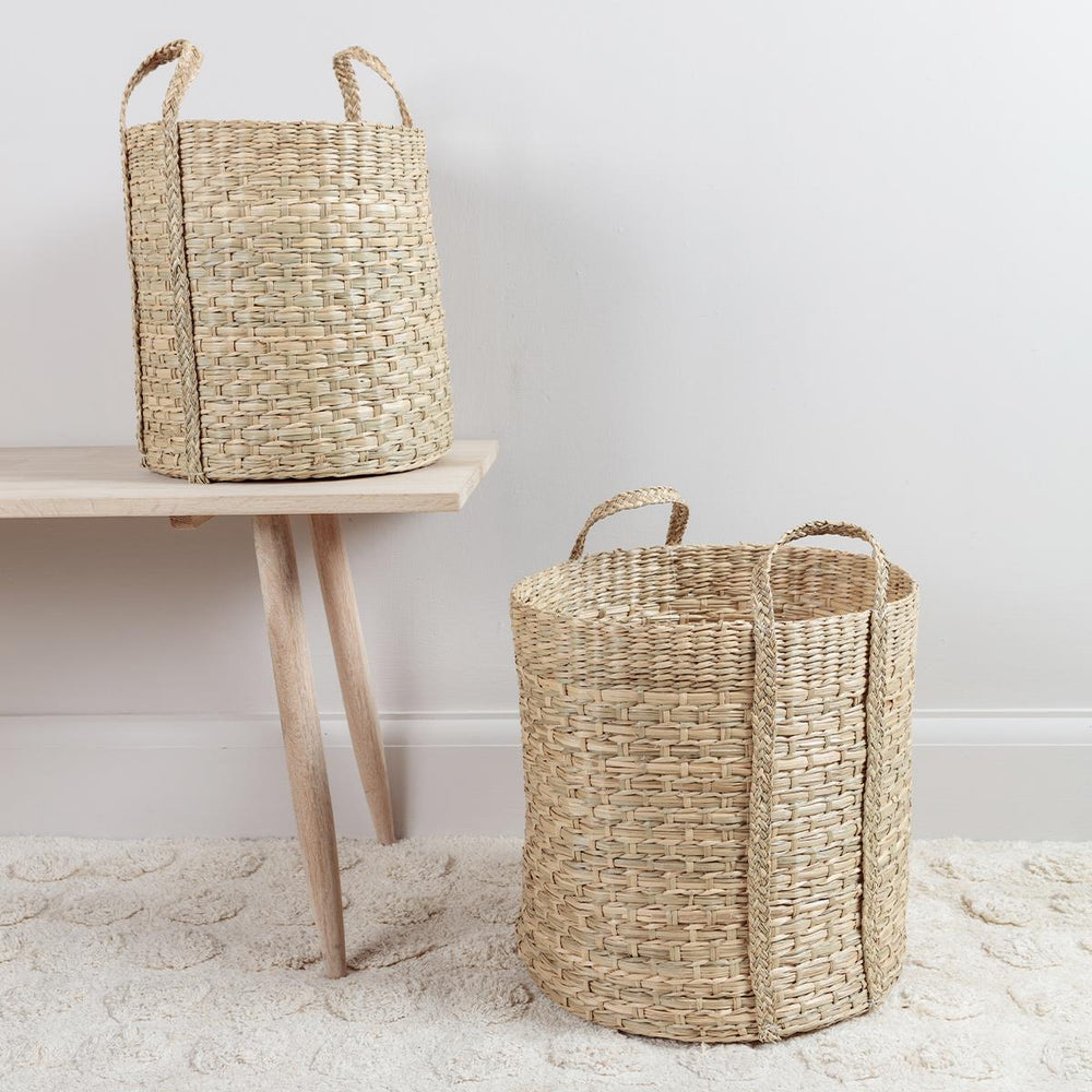 Tall Seagrass Basket with Handles Medium