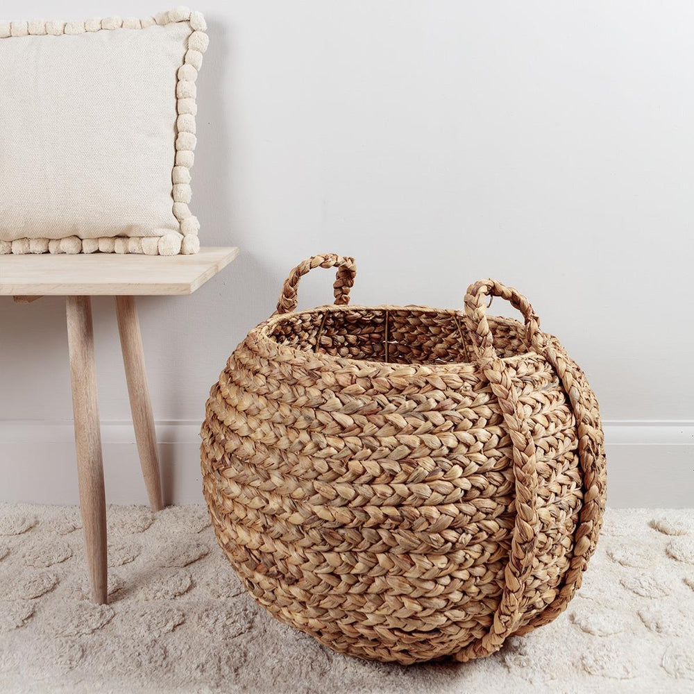 Round Water Hyacinth Basket with Handles