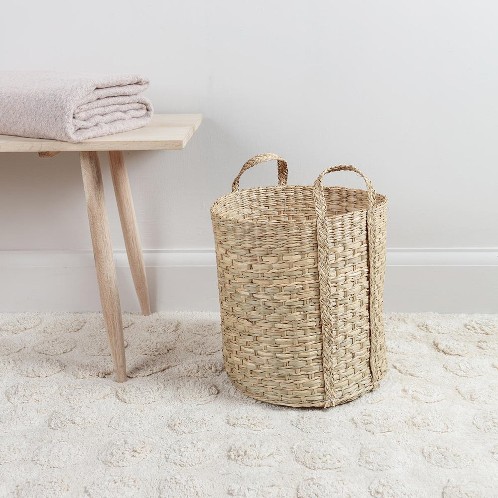 Tall Seagrass Basket with Handles Small