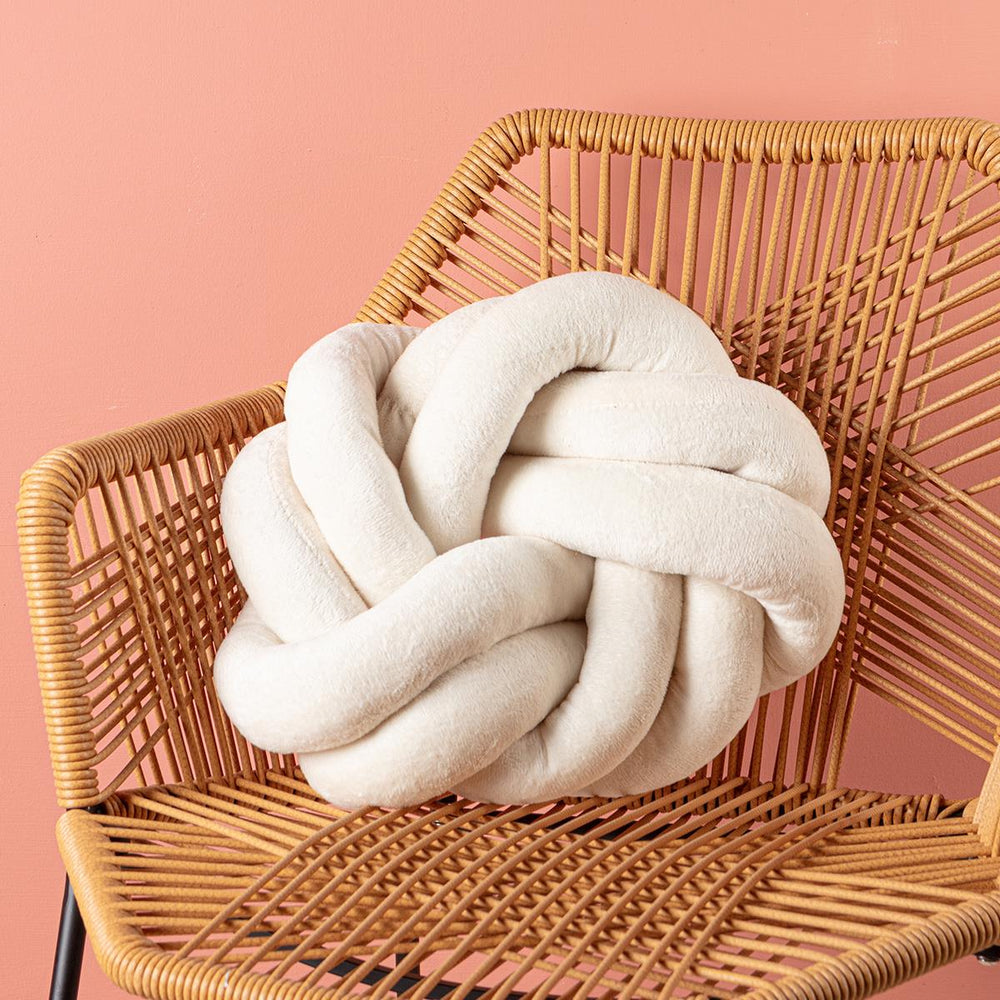 Cream Round Soft Knot Cushion