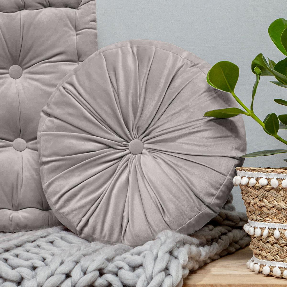 Grey Round Pintuck Cushion