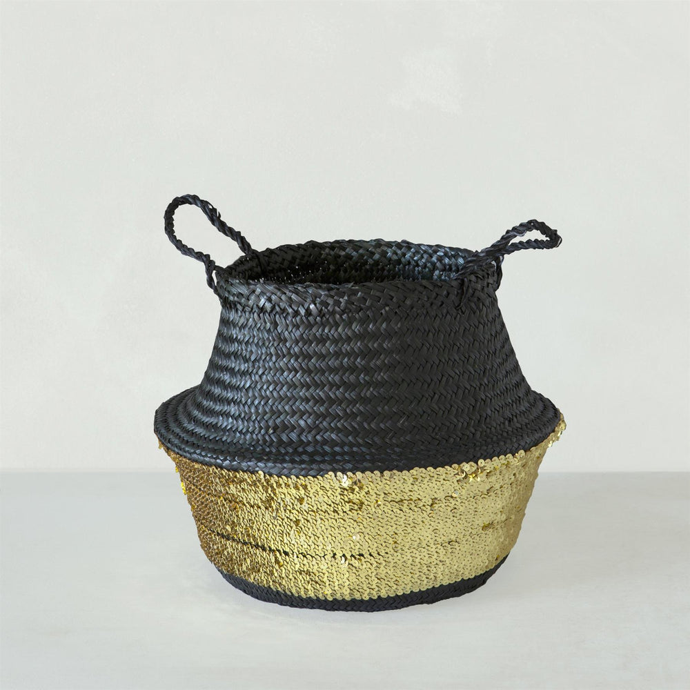 Black Toulouse Sequin Basket Black and Gold Medium
