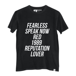 Camiseta Fearless, Speak Now, Red, 1989, Reputation, Lover - Camiseta Estampada - Camiseta de Algodão - Camiseta Masculina - Camiseta Feminina - TSF