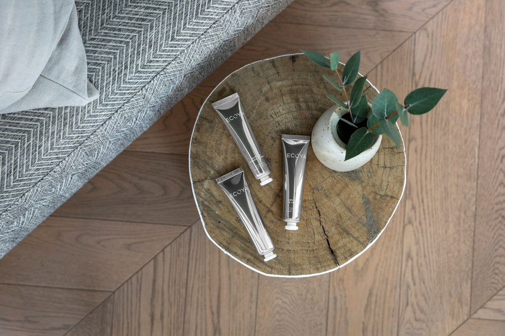 Set of hand cream on side table