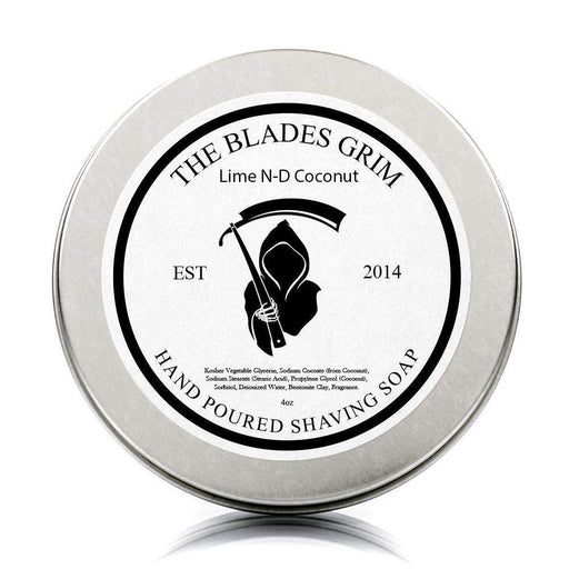 "Lime N-D Coconut - The Blades Grim 3"" Shave Soap-"