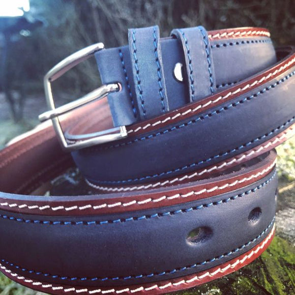 Franco Italian Leather Belt (Navy)