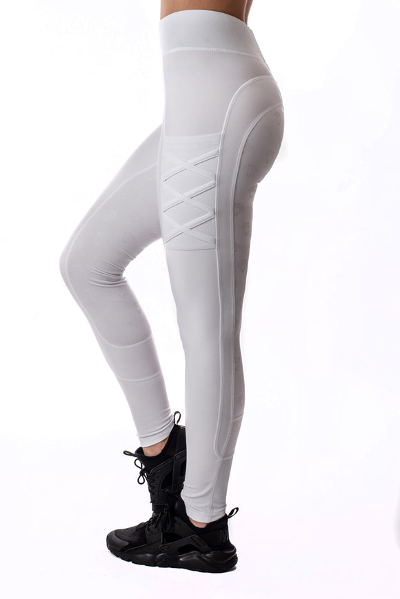 YR Full Seat Riding Leggings (White)