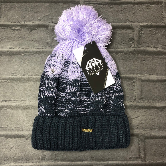 Pom Pom Hat (Purple/Navy)