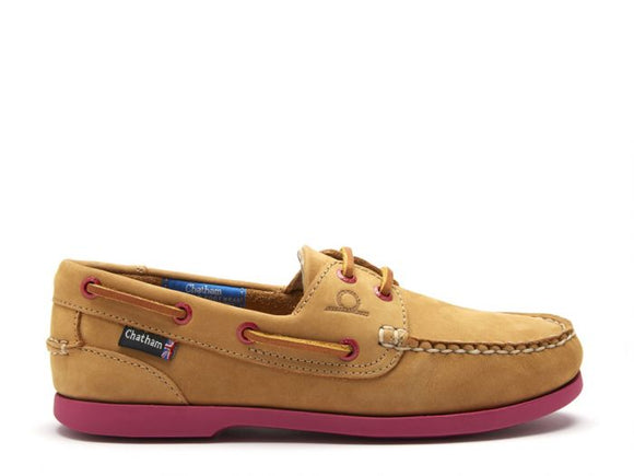 Chatham Pippa II G2 Leather Boat Shoes (Tan/Pink)