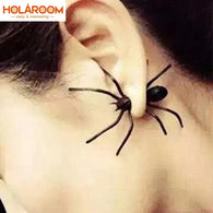 New 3D Creepy Black Spider Stud Earrings For Halloween Party