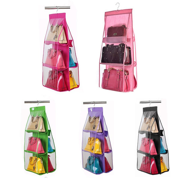 Hanging Storage Bag For Handbag Shoes 6 Pockets