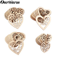Wood Wedding Decor Laser Cut Heart Hanging Ornament 10 pc