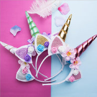 Party DIY Unicorn Flower Cat Ears Headbands For Kids