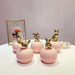 Pink Cute Animals ceramic jewelry boxes with Crystal Holder