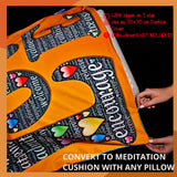 Meditation cushion mat, romantic meditation gift for her, love gift, bedroom decor for her, yoga tapestry, mindfulness cushion cover, yoga cushion mat comfortable, portable yoga mat, anniversary gift, satin carrier bag, gift for woman, cute yoga item
