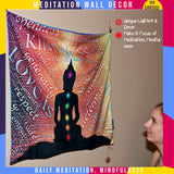 Buddha meditation mat, meditation gift for men & women, wall decor, tapestry wall hanging, mindfulness cushion cover, travel yoga mat, budda wall art, satin bag, velvet premium chakra mat, buddha meditation cushion square, zen gift, buddhist decor
