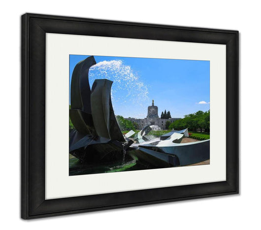 Framed Print, Salem Oregon Capitol Building And Water Fountain