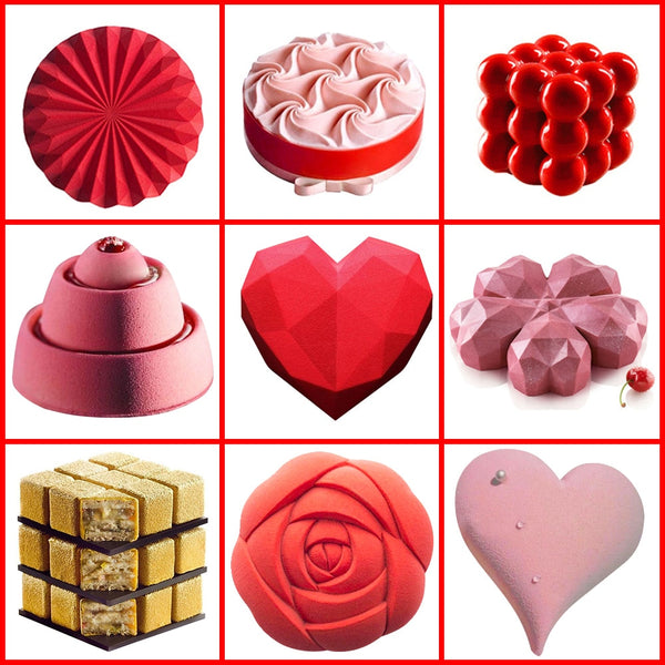 Rose Heart 3D Silicone Cake Molds for DIY Baking