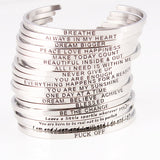 Engraved Positive Inspirational Quote Cuff Bracelets For Women