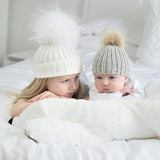 Mom Mother+Baby Knit Pom Bobble Beanies