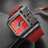Unique Wide Big Dial Casual Leather Strap Male Sport Watch
