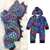Newborn Dinosaur Colorful Hooded Romper