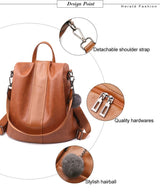 Leather Anti-thief Large Space Women Backpack