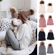 Cute Mother Daughter Warm Knitted Winter Beanie Caps