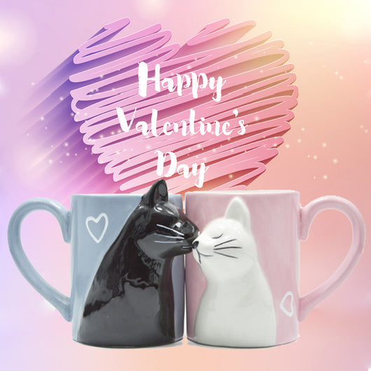 Kiss Cat Ceramic Handmade Couple Coffee Mug