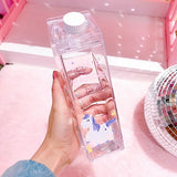 Unique Mini Milk Box Shape Transparent Plastic Drink Bottle