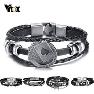 Lucky Vintage Men's Leather Charm Playing Cards Bracelet